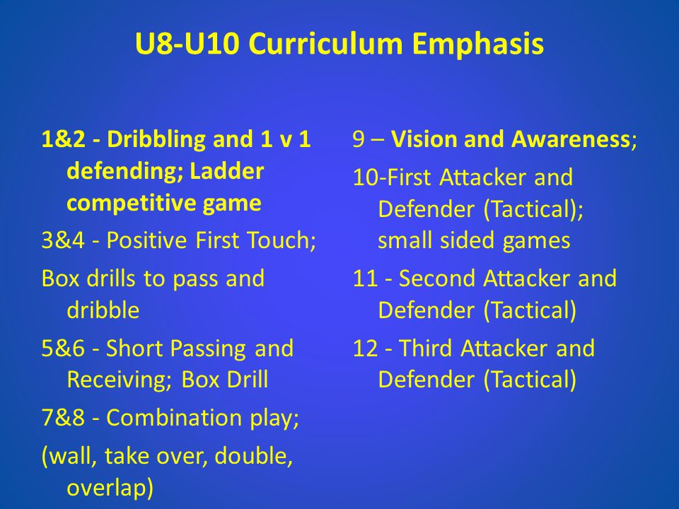 U8-U10 Curriculum Emphasis 1&2 - Dribbling and 1 v 1 defending; Ladder competitive game 3&4 - Positive First Touch; Box drills to pass and dribble 5&6