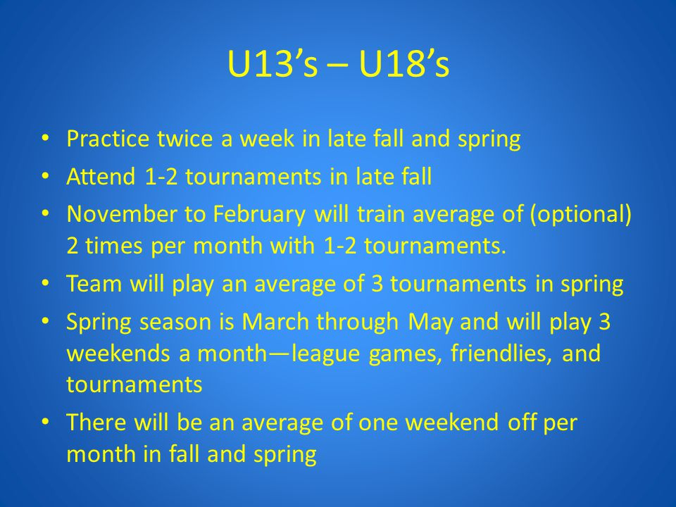 U13's – U18's Practice twice a week in late fall and spring Attend 1-2 tournaments in late fall November to February will train average of (optional)