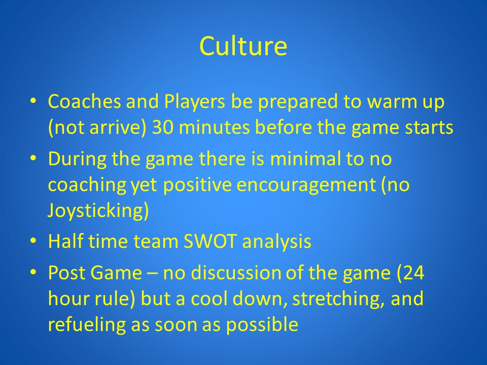 Curriculum U8-12 Romance Phase – – Help the kids fall in love with the game – Keep practices and games as intrinsic as possible – Have more Unstructured versus Structured Play – Emphasize Player Development versus Playing to Win – Encourage playing out of the back – Allow the kids to make and learn from their mistakes – Allow the kids to make their own decisions versus coaching during the game – Encourage mobility within the lines and between the lines However coach keeping their Shape – Encourage playing various positions in their comfort zone (avoid forcing kids to play a position that is not fun for them or try and make that position less stressful).