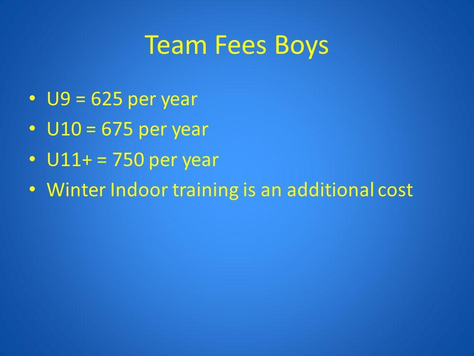 Team Fees Boys U9 = 625 per year U10 = 675 per year U11+ = 750 per year Winter Indoor training is an additional cost