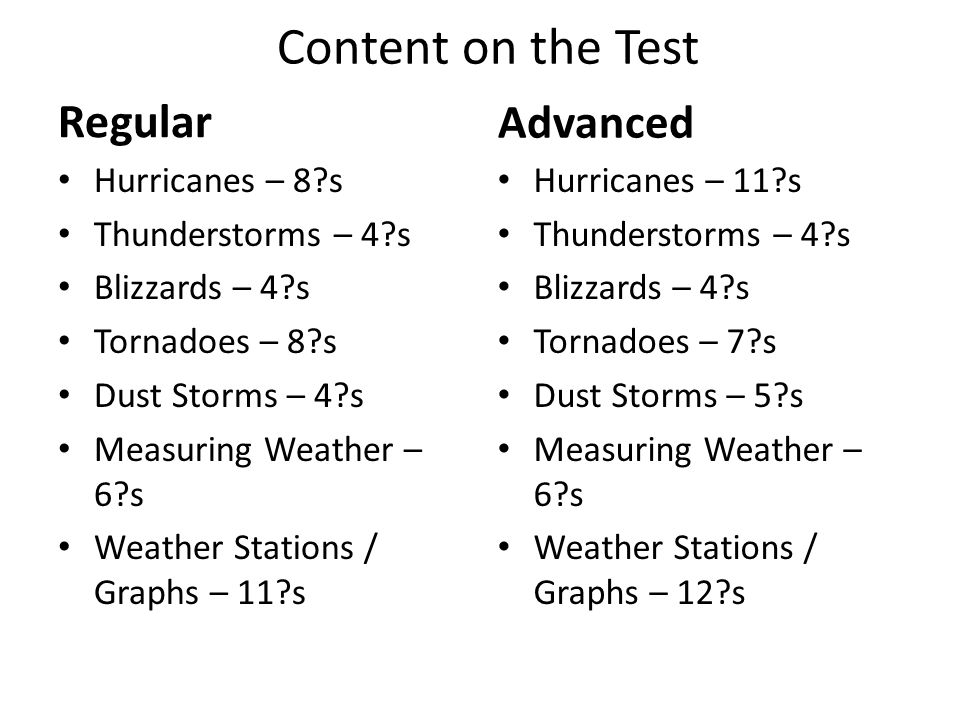 Content on the Test Regular Hurricanes – 8 s Thunderstorms – 4 s Blizzards – 4 s Tornadoes – 8 s Dust Storms – 4 s Measuring Weather – 6 s Weather Stations / Graphs – 11 s Advanced Hurricanes – 11 s Thunderstorms – 4 s Blizzards – 4 s Tornadoes – 7 s Dust Storms – 5 s Measuring Weather – 6 s Weather Stations / Graphs – 12 s