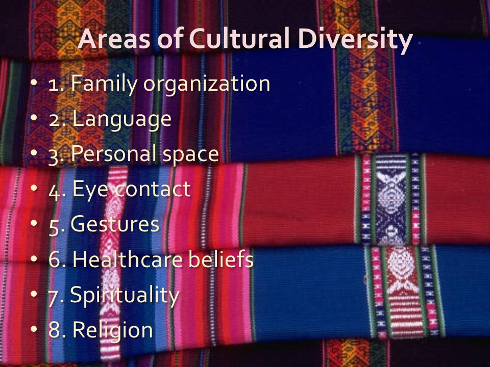 Areas of Cultural Diversity 1. Family organization 2.