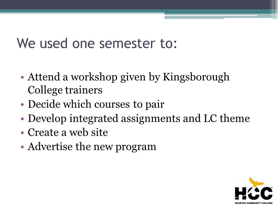 We used one semester to: Attend a workshop given by Kingsborough College trainers Decide which courses to pair Develop integrated assignments and LC theme Create a web site Advertise the new program