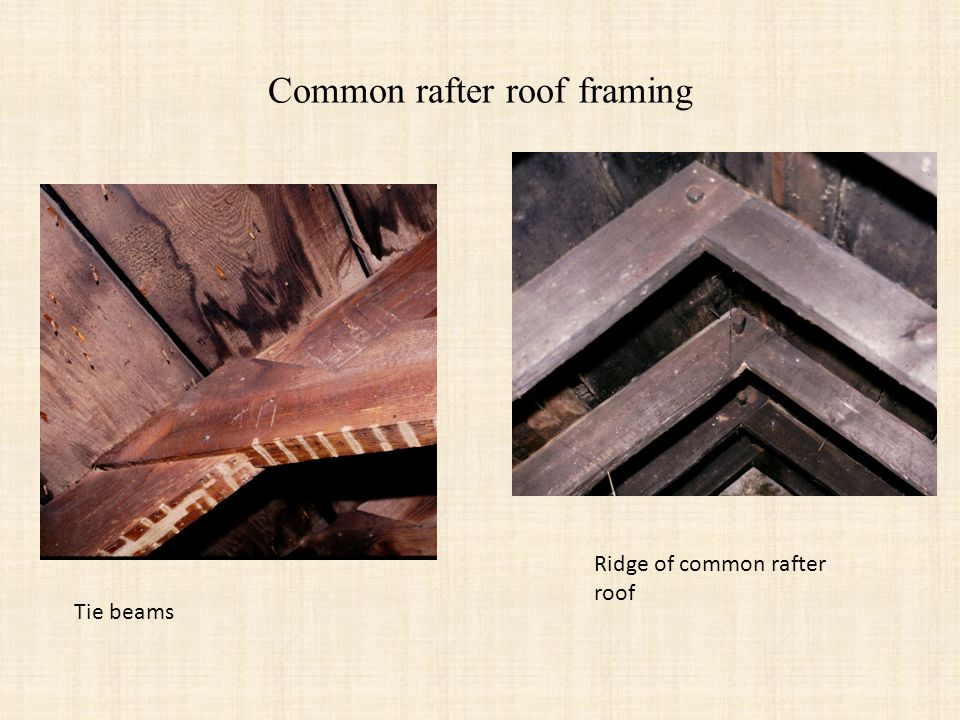 Common rafter roof framing Ridge of common rafter roof Tie beams