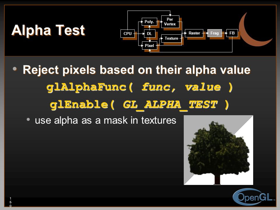 150150150 Alpha Test Reject pixels based on their alpha value Reject pixels based on their alpha value glAlphaFunc( func, value ) glEnable( GL_ALPHA_TEST ) use alpha as a mask in textures CPU DL Poly.