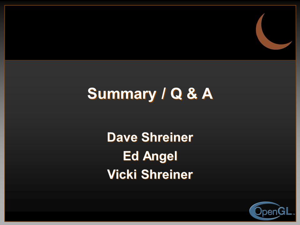 Summary / Q & A Dave Shreiner Ed Angel Vicki Shreiner