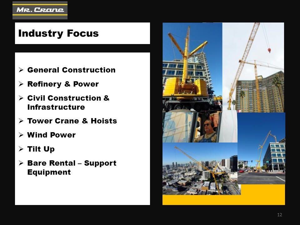 Industry Focus  General Construction  Refinery & Power  Civil Construction & Infrastructure  Tower Crane & Hoists  Wind Power  Tilt Up  Bare Rental – Support Equipment 12