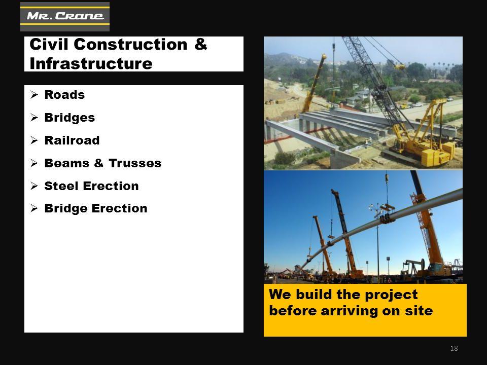 Civil Construction & Infrastructure  Roads  Bridges  Railroad  Beams & Trusses  Steel Erection  Bridge Erection We build the project before arri