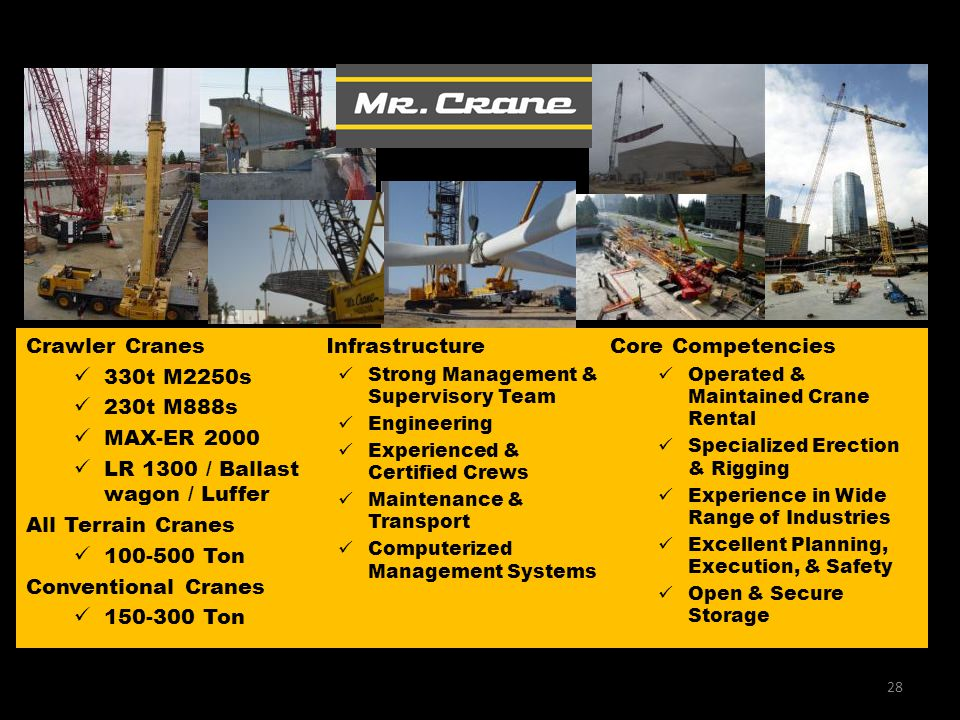 Infrastructure Strong Management & Supervisory Team Engineering Experienced & Certified Crews Maintenance & Transport Computerized Management Systems