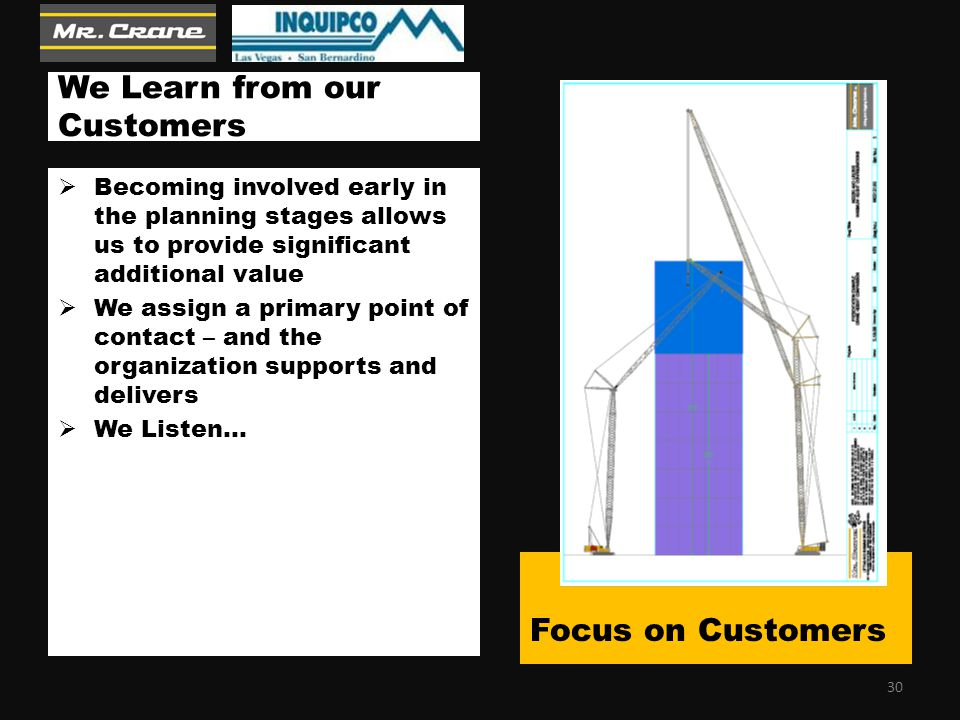 We Learn from our Customers  Becoming involved early in the planning stages allows us to provide significant additional value  We assign a primary point of contact – and the organization supports and delivers  We Listen… Focus on Customers 30