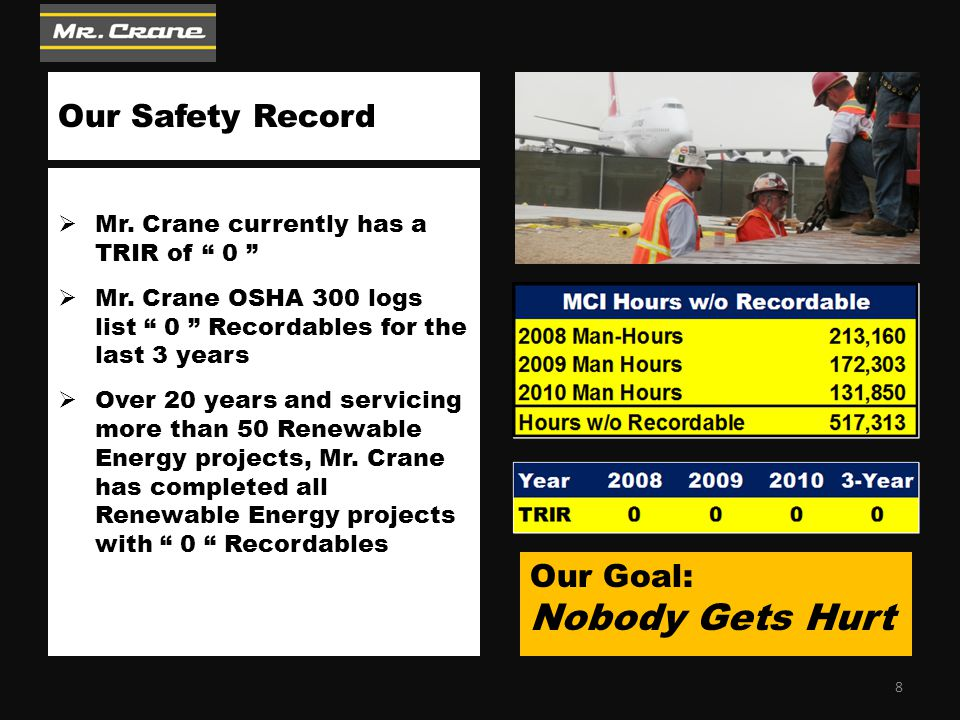 """Our Safety Record  Mr. Crane currently has a TRIR of """" 0 """"  Mr. Crane OSHA 300 logs list """" 0 """" Recordables for the last 3 years  Over 20 years and"""