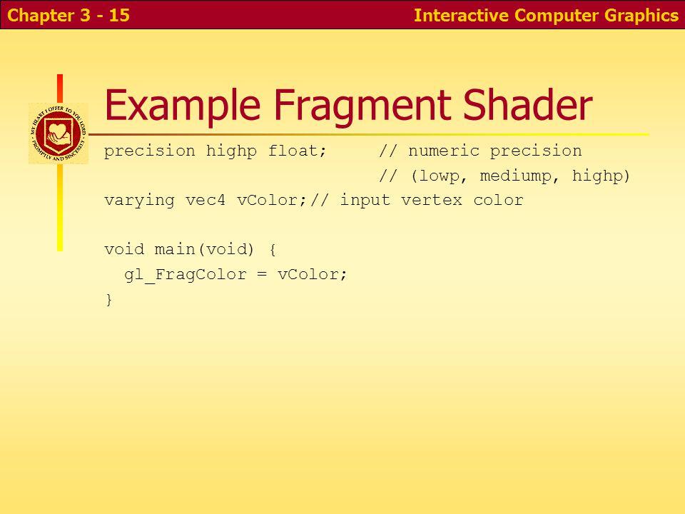 Example Fragment Shader precision highp float;// numeric precision // (lowp, mediump, highp) varying vec4 vColor;// input vertex color void main(void)
