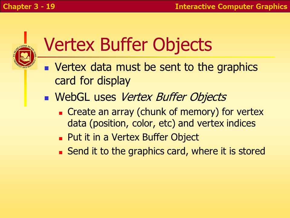 Vertex Buffer Objects Vertex data must be sent to the graphics card for display WebGL uses Vertex Buffer Objects Create an array (chunk of memory) for vertex data (position, color, etc) and vertex indices Put it in a Vertex Buffer Object Send it to the graphics card, where it is stored Interactive Computer GraphicsChapter 3 - 19