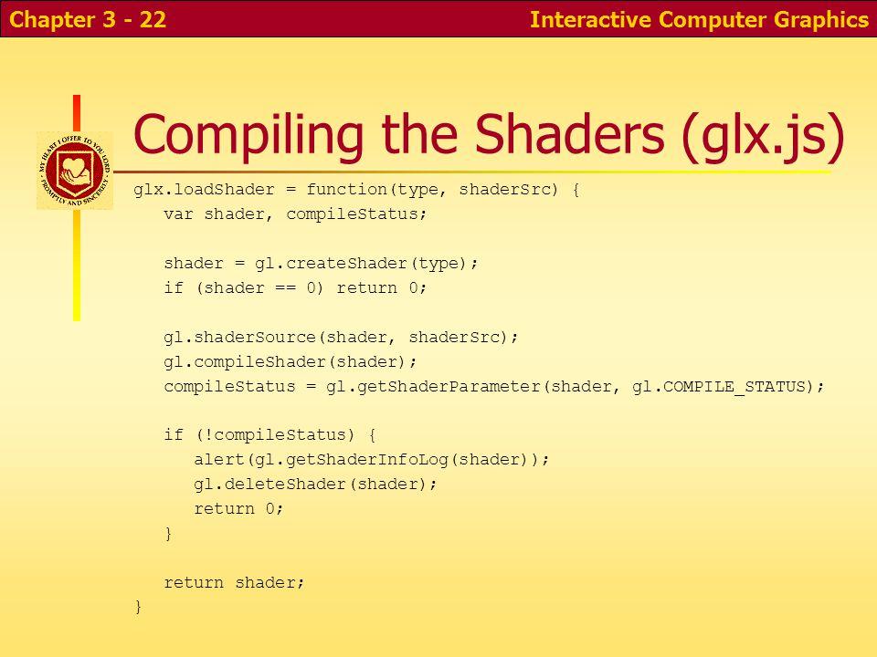 Compiling the Shaders (glx.js) glx.loadShader = function(type, shaderSrc) { var shader, compileStatus; shader = gl.createShader(type); if (shader == 0