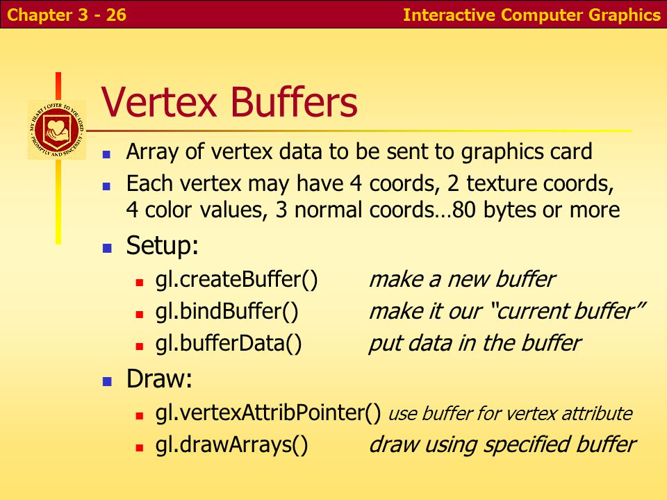 Vertex Buffers Array of vertex data to be sent to graphics card Each vertex may have 4 coords, 2 texture coords, 4 color values, 3 normal coords…80 bytes or more Setup: gl.createBuffer() make a new buffer gl.bindBuffer() make it our current buffer gl.bufferData()put data in the buffer Draw: gl.vertexAttribPointer() use buffer for vertex attribute gl.drawArrays()draw using specified buffer Interactive Computer GraphicsChapter 3 - 26