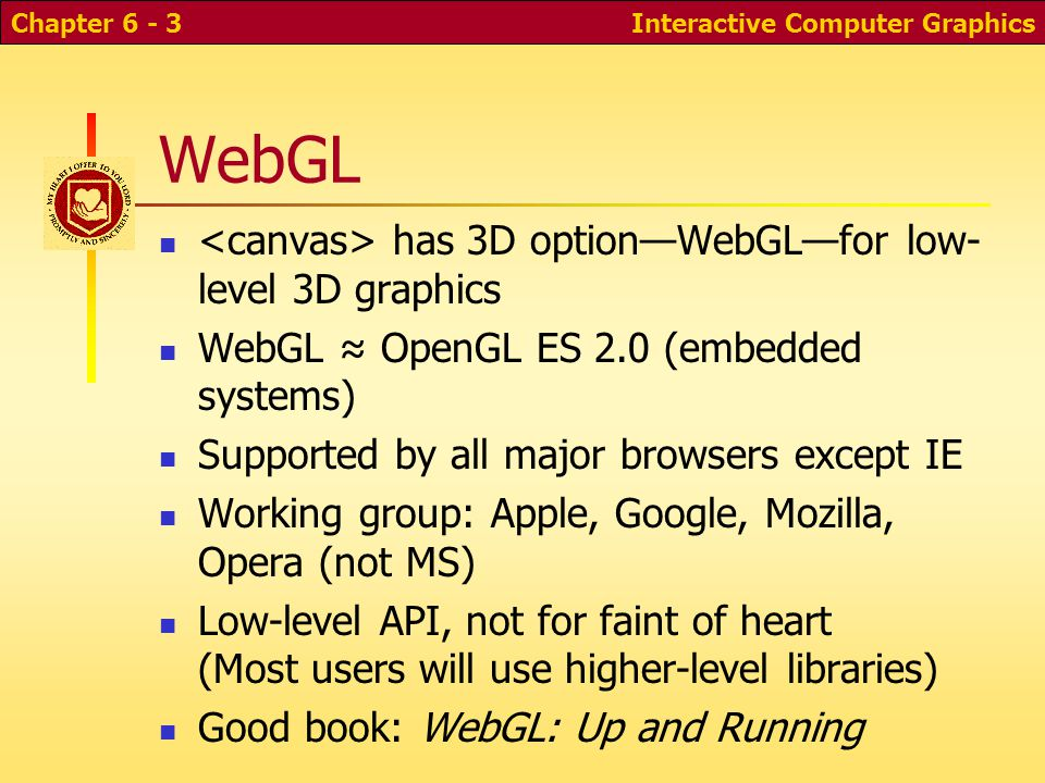 Three.js WebGL is low-level; 3D is hard work Need libraries for higher-level capabilities Object models Scene graphs Display lists Physics We'll start with raw WebGL examples, then move to Three.js Interactive Computer GraphicsChapter 6 - 4