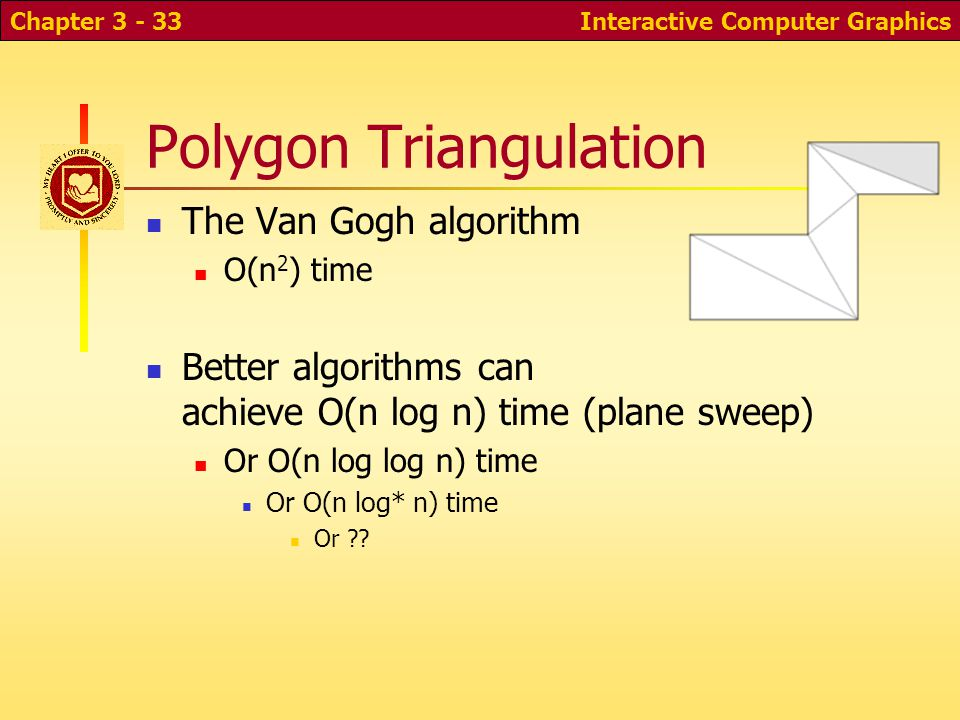 Polygon Triangulation The Van Gogh algorithm O(n 2 ) time Better algorithms can achieve O(n log n) time (plane sweep) Or O(n log log n) time Or O(n lo