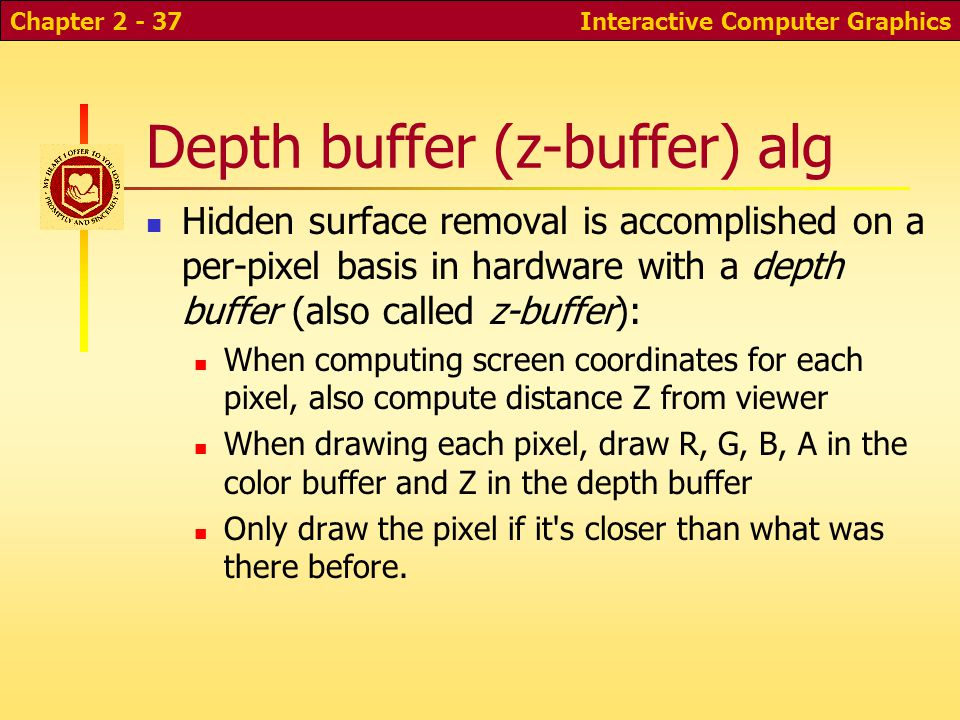 Interactive Computer GraphicsChapter 2 - 37 Depth buffer (z-buffer) alg Hidden surface removal is accomplished on a per-pixel basis in hardware with a depth buffer (also called z-buffer): When computing screen coordinates for each pixel, also compute distance Z from viewer When drawing each pixel, draw R, G, B, A in the color buffer and Z in the depth buffer Only draw the pixel if it s closer than what was there before.