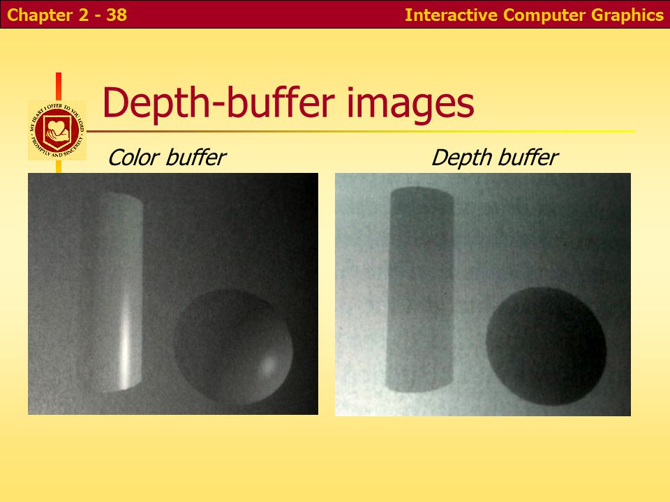 Interactive Computer GraphicsChapter 2 - 38 Depth-buffer images Depth bufferColor buffer