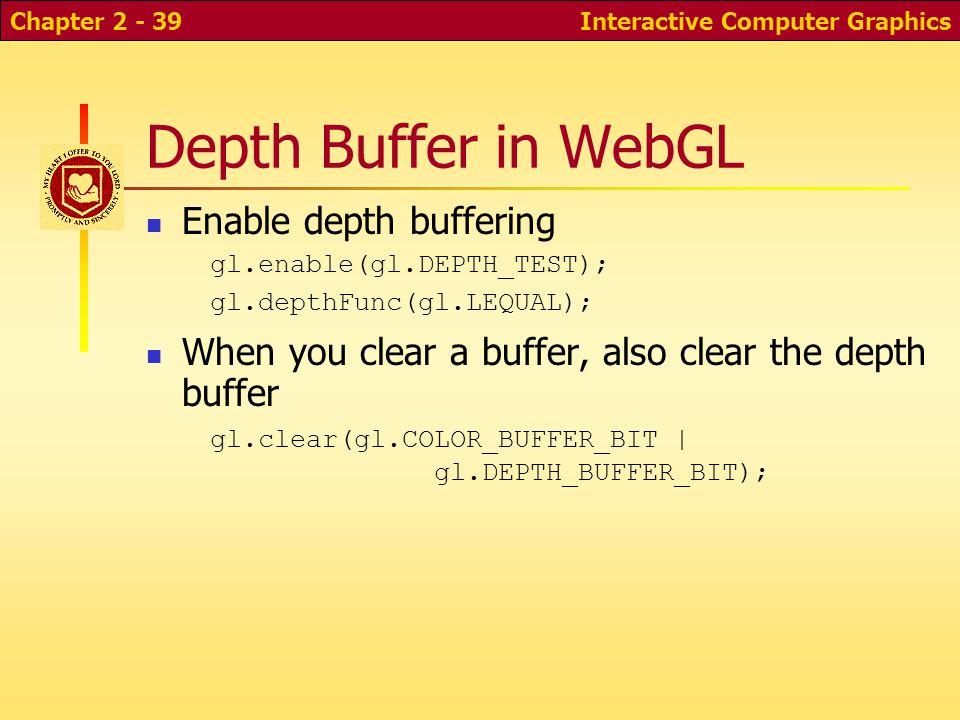 Interactive Computer GraphicsChapter 2 - 39 Depth Buffer in WebGL Enable depth buffering gl.enable(gl.DEPTH_TEST); gl.depthFunc(gl.LEQUAL); When you c