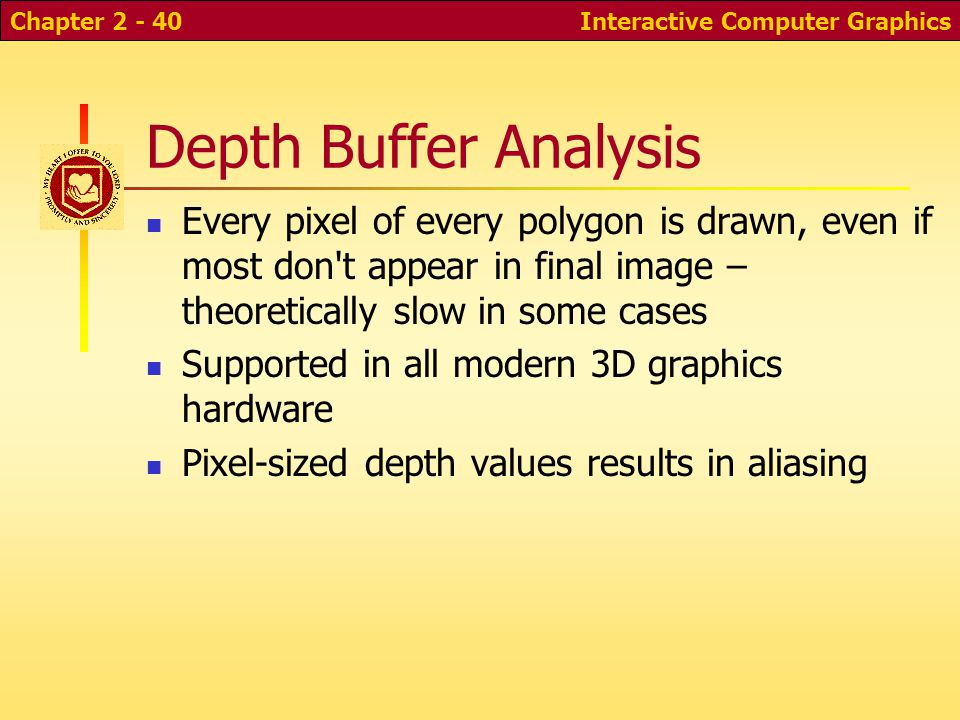 Interactive Computer GraphicsChapter 2 - 40 Depth Buffer Analysis Every pixel of every polygon is drawn, even if most don t appear in final image – theoretically slow in some cases Supported in all modern 3D graphics hardware Pixel-sized depth values results in aliasing