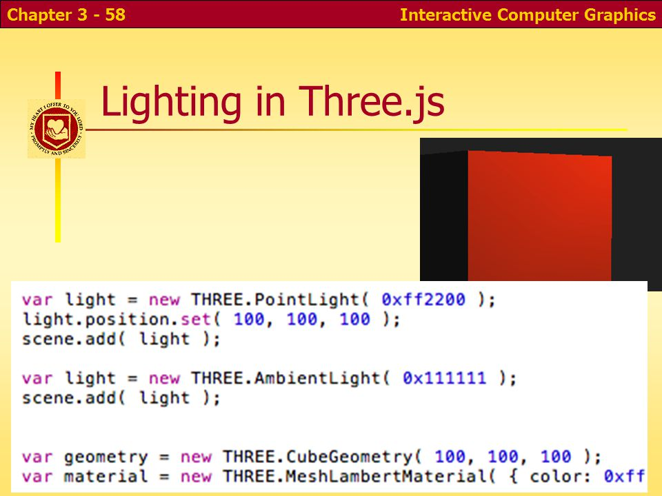 Lighting in Three.js Interactive Computer GraphicsChapter 3 - 58