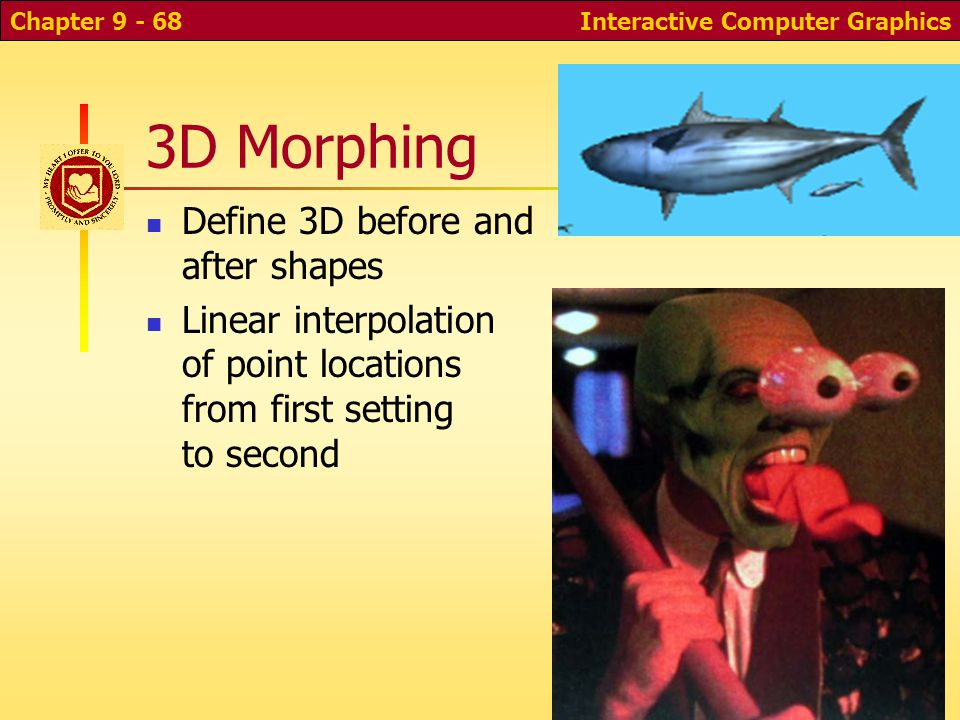 Interactive Computer GraphicsChapter 9 - 68 3D Morphing Define 3D before and after shapes Linear interpolation of point locations from first setting to second