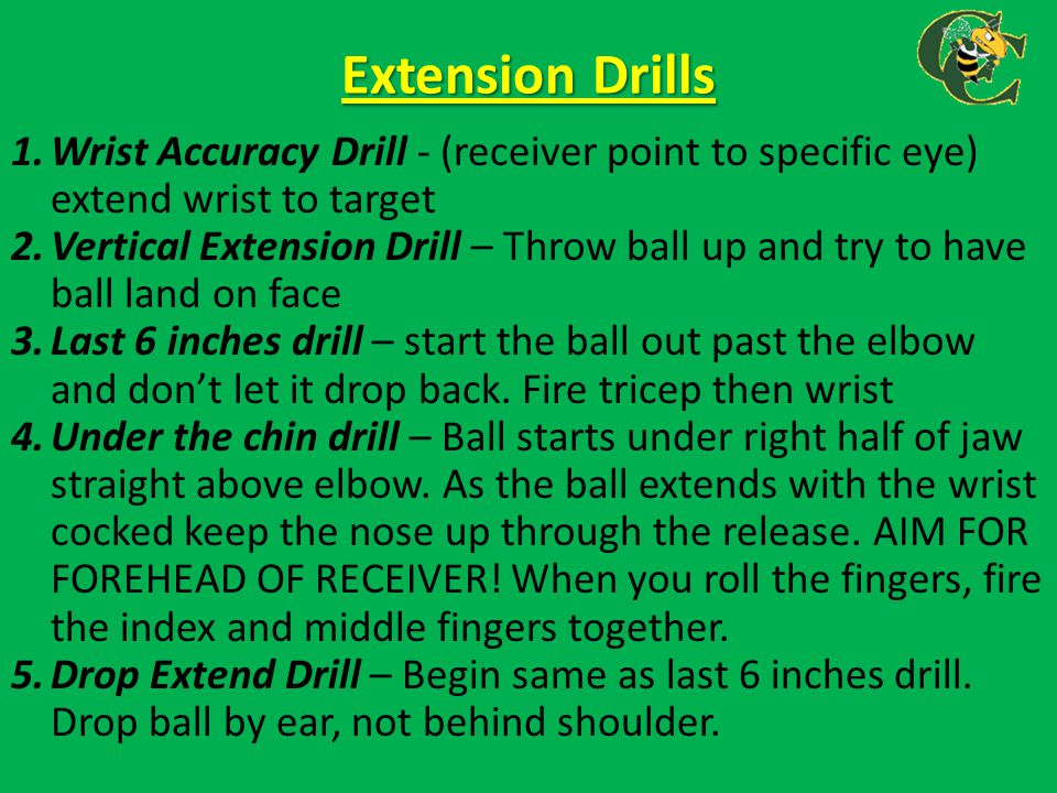 Extension Drills 1.Wrist Accuracy Drill - (receiver point to specific eye) extend wrist to target 2.Vertical Extension Drill – Throw ball up and try t