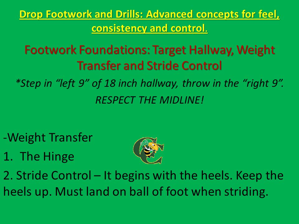 Drop Footwork and Drills: Advanced concepts for feel, consistency and control. Footwork Foundations: Target Hallway, Weight Transfer and Stride Contro