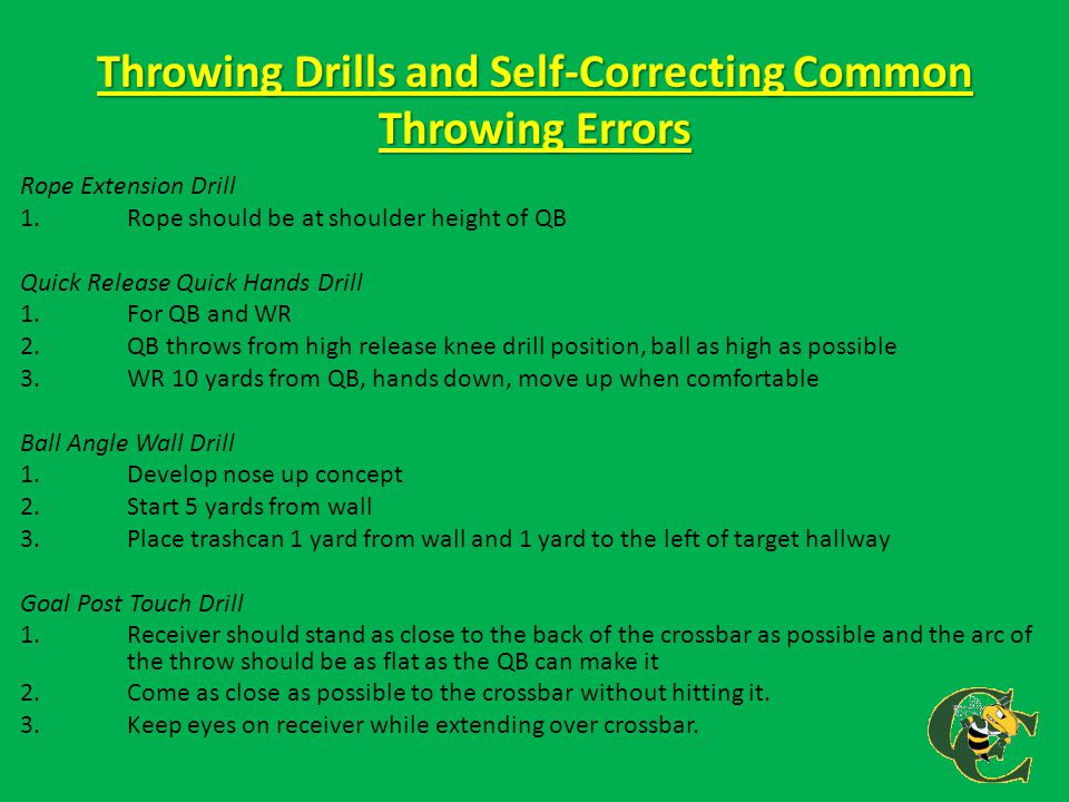 Throwing Drills and Self-Correcting Common Throwing Errors Rope Extension Drill 1.Rope should be at shoulder height of QB Quick Release Quick Hands Dr