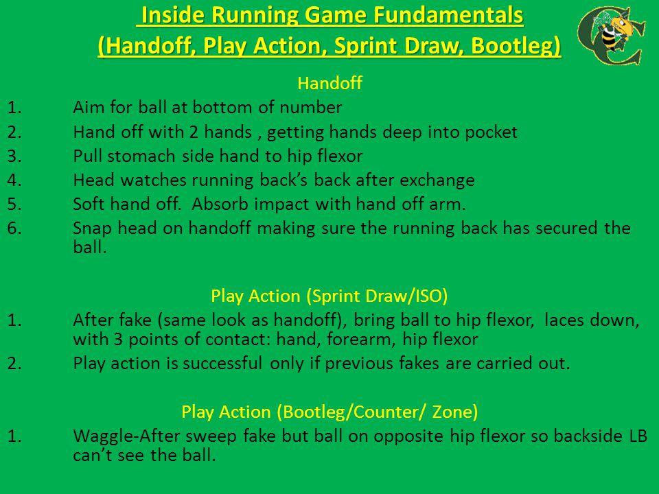 Inside Running Game Fundamentals (Handoff, Play Action, Sprint Draw, Bootleg) Inside Running Game Fundamentals (Handoff, Play Action, Sprint Draw, Boo