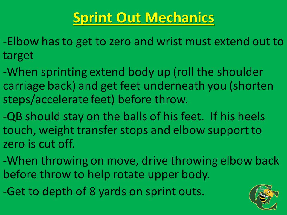 Sprint Out Mechanics -Elbow has to get to zero and wrist must extend out to target -When sprinting extend body up (roll the shoulder carriage back) an