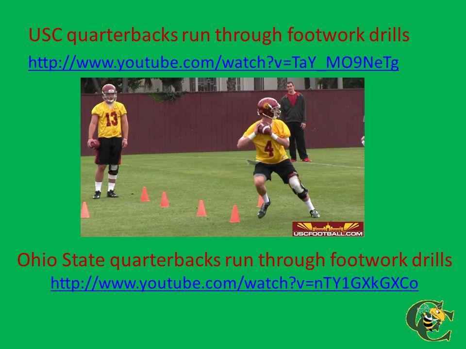USC quarterbacks run through footwork drills http://www.youtube.com/watch?v=TaY_MO9NeTg Ohio State quarterbacks run through footwork drills http://www