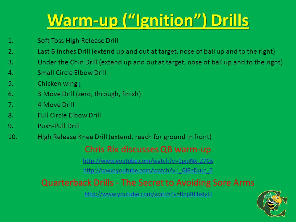 """Warm-up (""""Ignition"""") Drills 1.Soft Toss High Release Drill 2.Last 6 inches Drill (extend up and out at target, nose of ball up and to the right) 3. Un"""