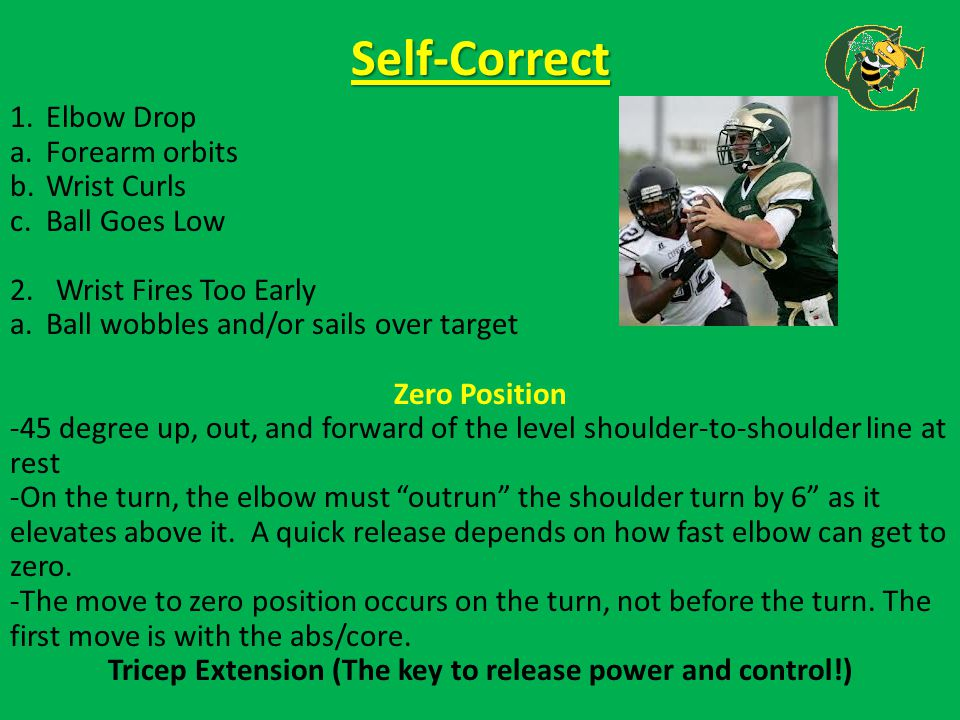 Throwing Drills and Self-Correcting Common Throwing Errors (cont.) Goal Post Hallway Drill 1.Work both sides of goalpost 2.Work on throws of different heights 3.Make hallway tighter as you go, always keeping eyes on target Goal Post Grid Drill 1.Throw routes over/under goal post Tennis Ball Focus Drill 1.5 step drop 2.Coach 1 hops ball to QB making QB move with quick feet to catch ball and throw back to coach Rush Avoidance Drill 1.Teaches QB to not over react to rush Shuffle Clap Drill 1.Take drop, keep feet live, throw ball when receiver claps hands