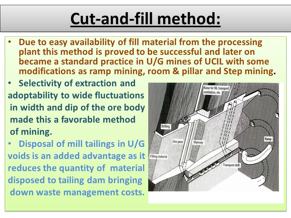 Cut-and-fill method: Due to easy availability of fill material from the processing plant this method is proved to be successful and later on became a