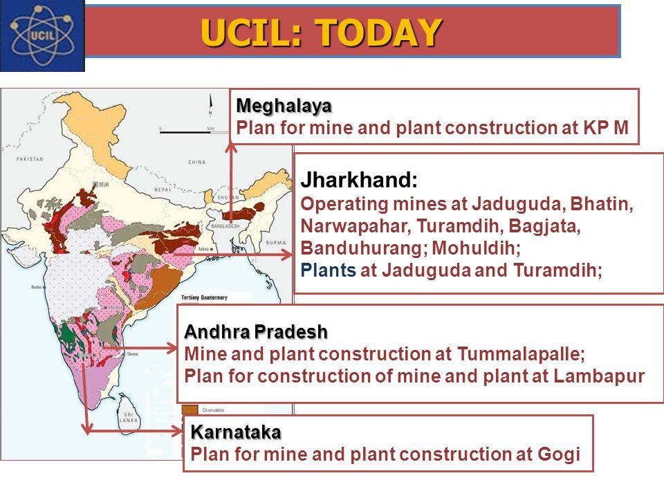UCIL: TODAY Jharkhand: Operating mines at Jaduguda, Bhatin, Narwapahar, Turamdih, Bagjata, Banduhurang; Mohuldih; Plants at Jaduguda and Turamdih; And