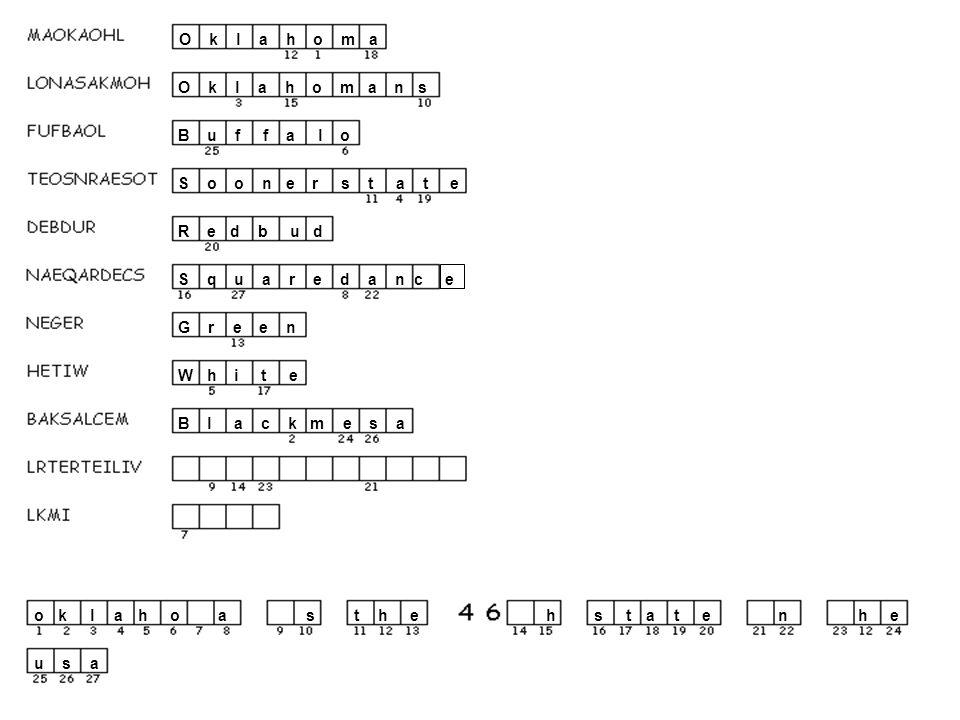 O k l a h o m a ho a n s lhs B u f f a l o u o S o o n e r s t a t e tat R e d b u d e S q u a r e d a n c e s a an G r e e n e W h i t e hth B l a c k m e s a ke s