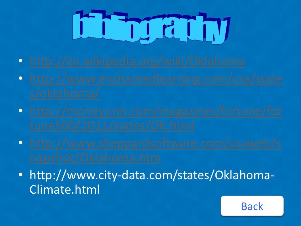 http://en.wikipedia.org/wiki/Oklahoma http://www.enchantedlearning.com/usa/state s/oklahoma/ http://www.enchantedlearning.com/usa/state s/oklahoma/ http://money.cnn.com/magazines/fortune/for tune500/2011/states/OK.html http://money.cnn.com/magazines/fortune/for tune500/2011/states/OK.html http://www.sheppardsoftware.com/usaweb/s napshot/Oklahoma.htm http://www.sheppardsoftware.com/usaweb/s napshot/Oklahoma.htm http://www.city-data.com/states/Oklahoma- Climate.html Back