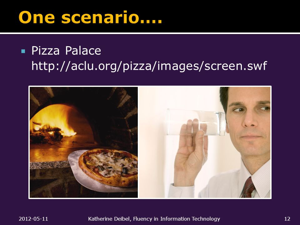  Pizza Palace http://aclu.org/pizza/images/screen.swf 2012-05-11Katherine Deibel, Fluency in Information Technology12