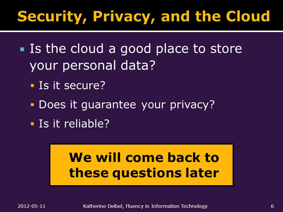  Is the cloud a good place to store your personal data.