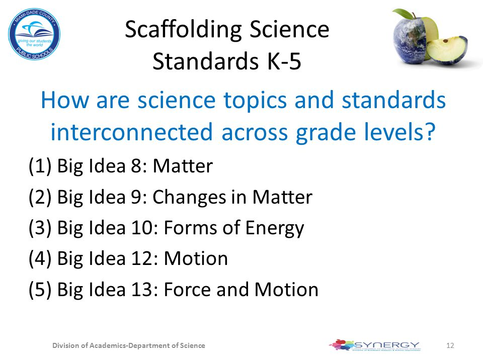 Scaffolding Science Standards K-5 How are science topics and standards interconnected across grade levels? (1) Big Idea 8: Matter (2) Big Idea 9: Chan