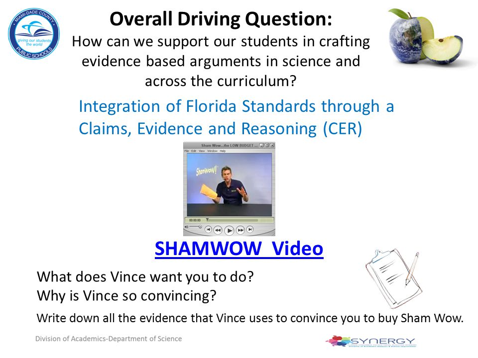Overall Driving Question: How can we support our students in crafting evidence based arguments in science and across the curriculum? What does Vince w