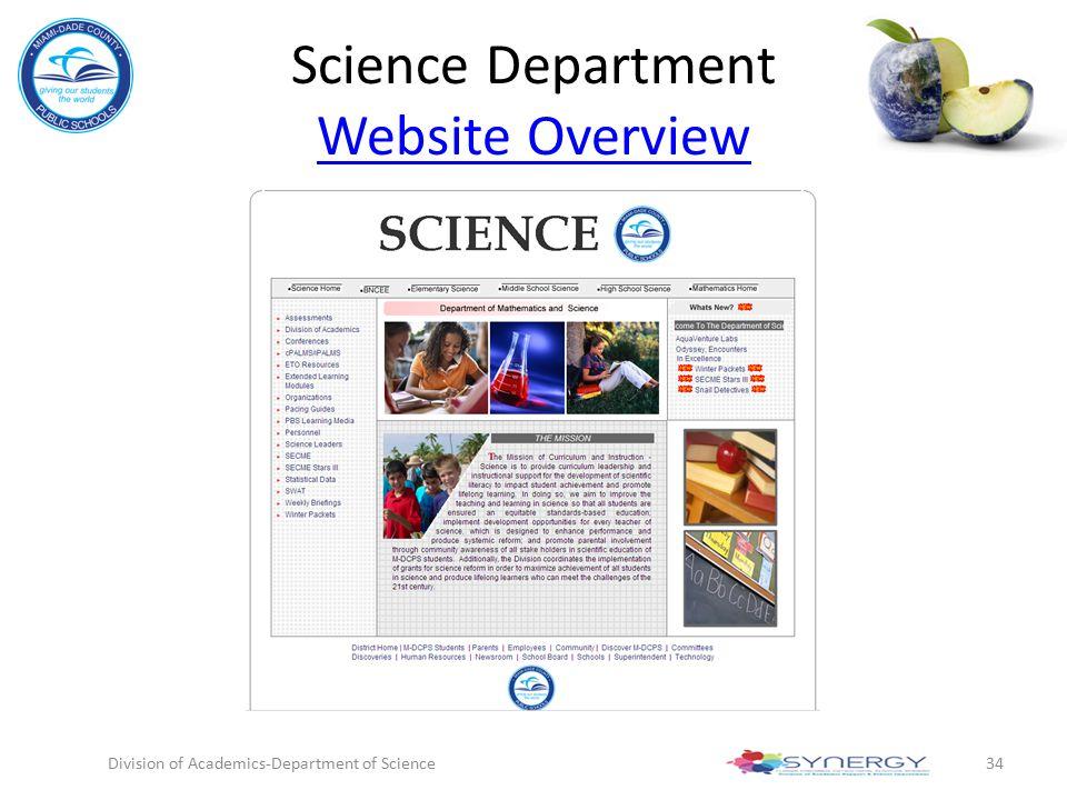 Science Department Website Overview Website Overview Division of Academics-Department of Science34