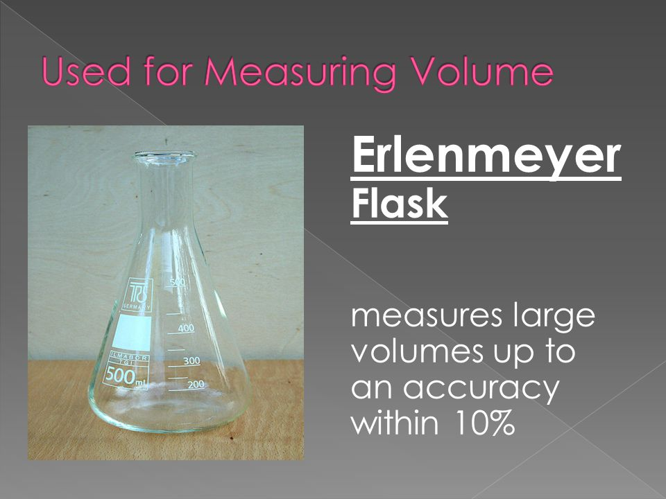 Erlenmeyer Flask measures large volumes up to an accuracy within 10%