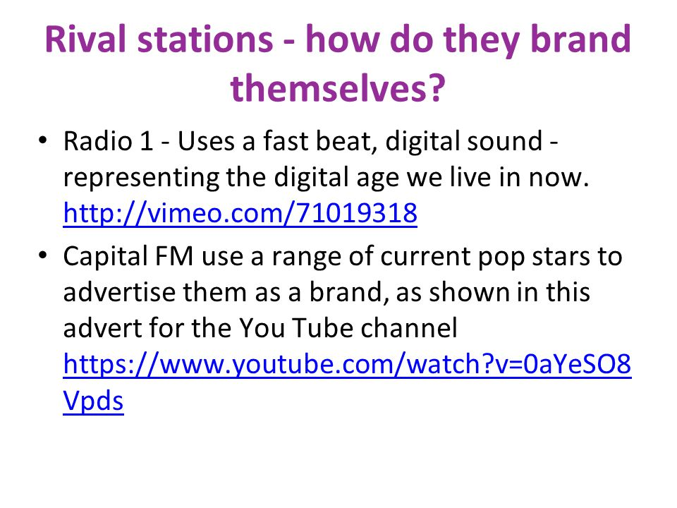 Rival stations for Absolute Radio 00s Biggest rivalry to Absolute 00's: Radio 1 (Analogue and Digital) Capital FM + Extra (Analogue and Digital) The H