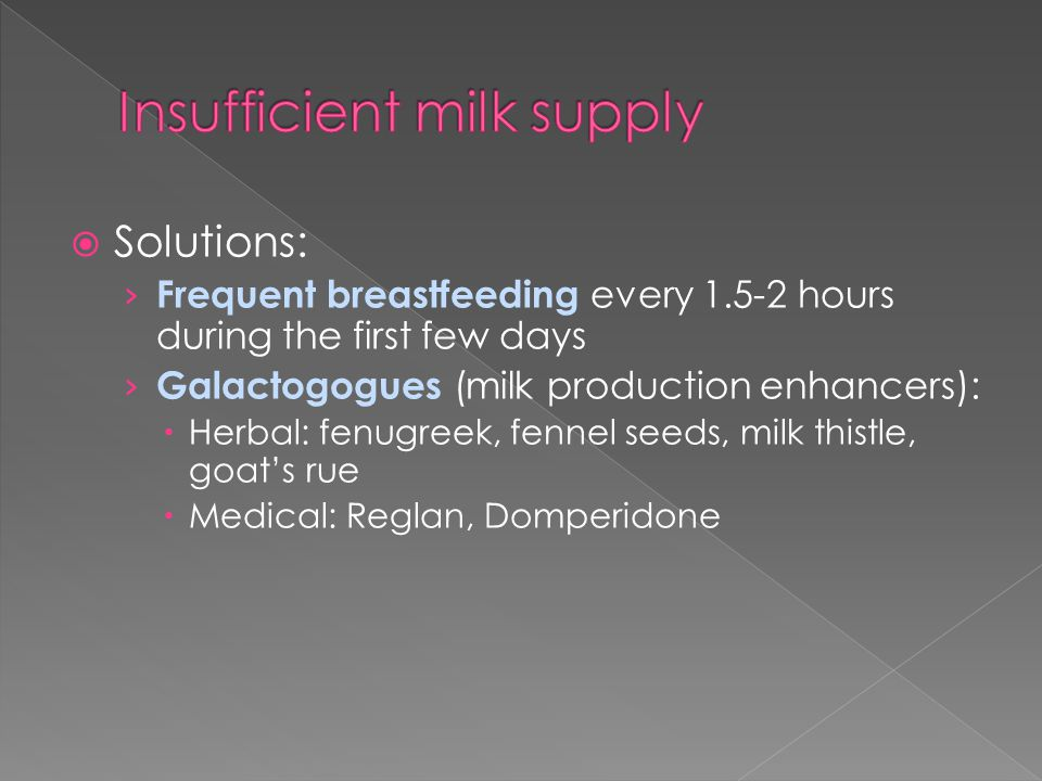  Solutions: › Frequent breastfeeding every 1.5-2 hours during the first few days › Galactogogues (milk production enhancers):  Herbal: fenugreek, fennel seeds, milk thistle, goat's rue  Medical: Reglan, Domperidone