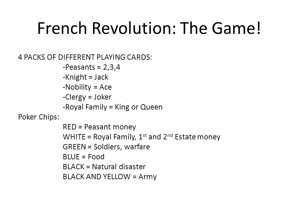 French Revolution: The Game! 4 PACKS OF DIFFERENT PLAYING CARDS: -Peasants = 2,3,4 -Knight = Jack -Nobility = Ace -Clergy = Joker -Royal Family = King