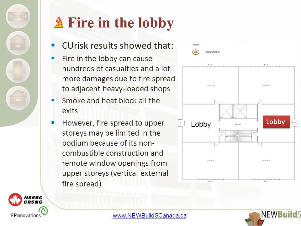 www.NEWBuildSCanada.ca  CUrisk results showed that:  Fire in the lobby can cause hundreds of casualties and a lot more damages due to fire spread to adjacent heavy-loaded shops  Smoke and heat block all the exits  However, fire spread to upper storeys may be limited in the podium because of its non- combustible construction and remote window openings from upper storeys (vertical external fire spread ) 14 Lobby