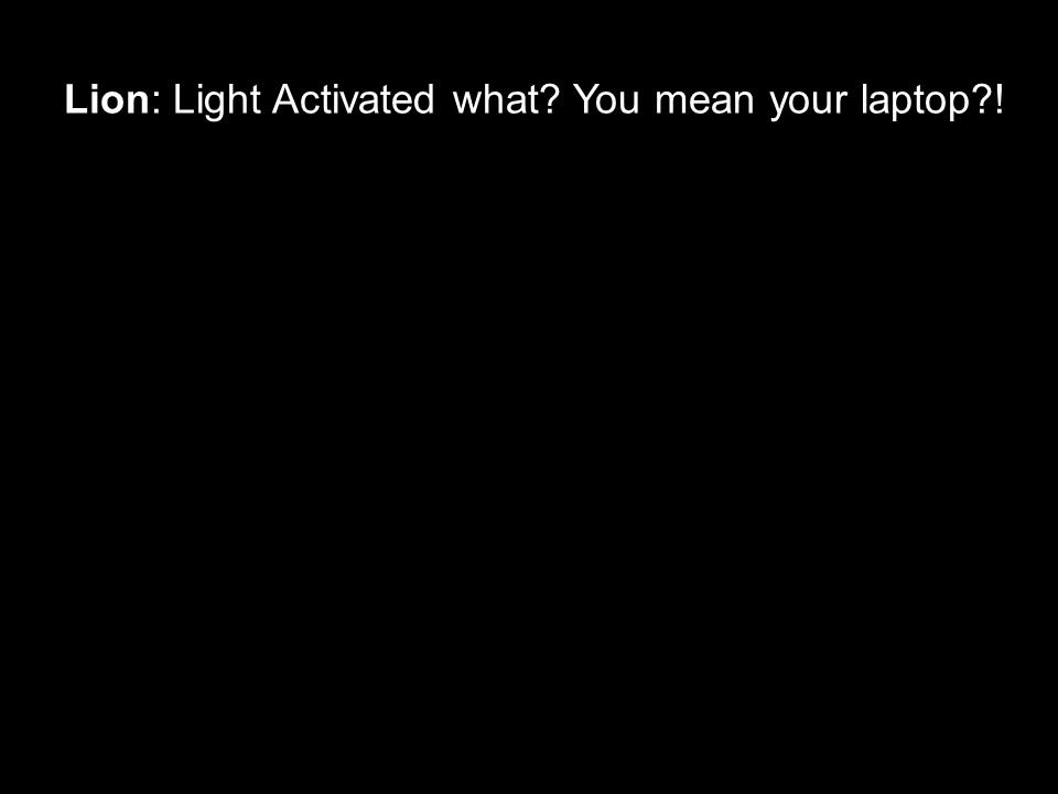 Lion: Light Activated what? You mean your laptop?!